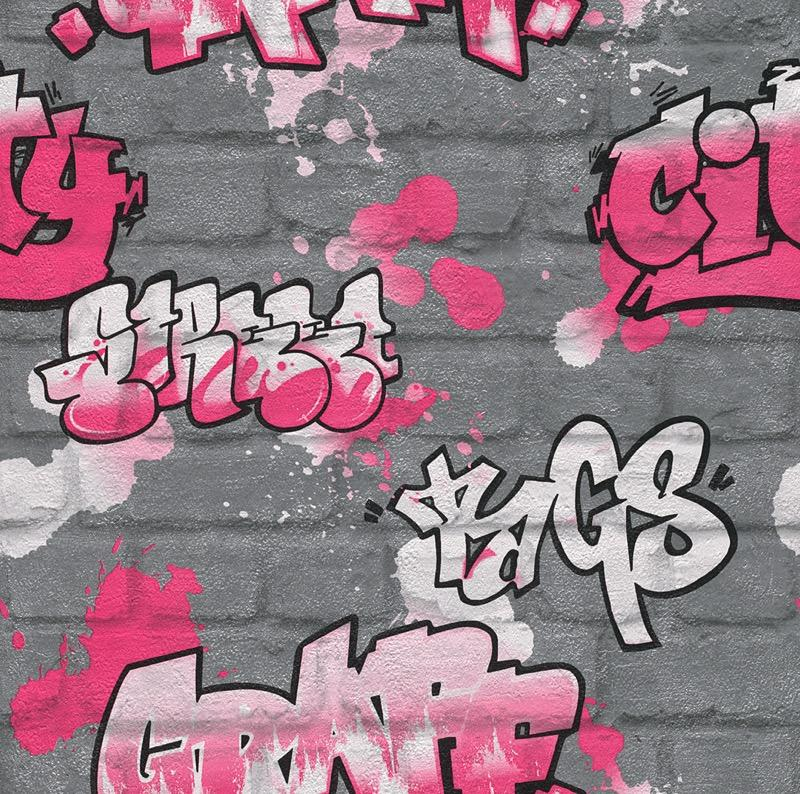w23711818r Trendy pink graffiti wallpaper on a grey brick background