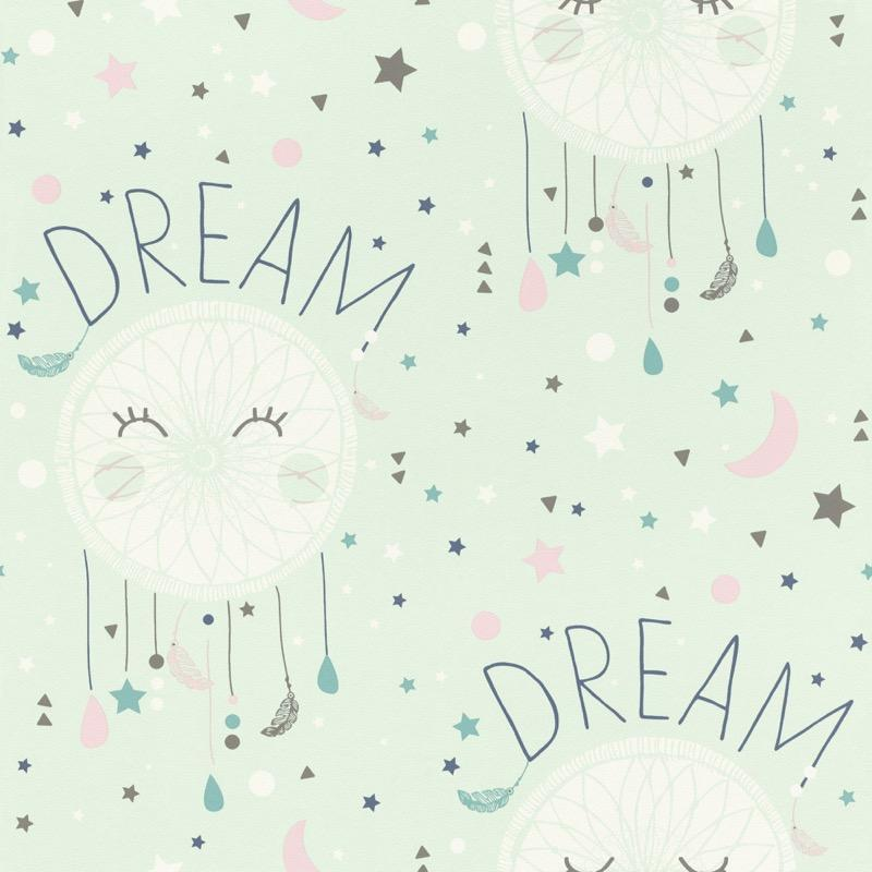 w24866760r A delicate dream catcher wallpaper in soft colours. Perfect for a nursery or kids playroom.
