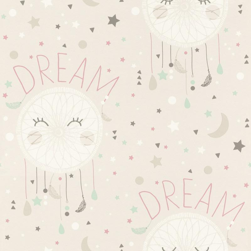 w24877777r A delicate dream catcher wallpaper with hints of pink and mint green