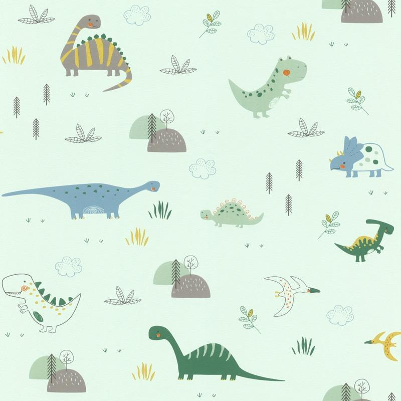 w24933330r Playful dinosaur wallpaper with a pop of colour