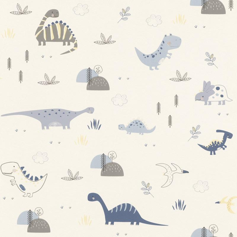 w24944347r Playful dinosaur wallpaper in delicate neutrals and soft blues