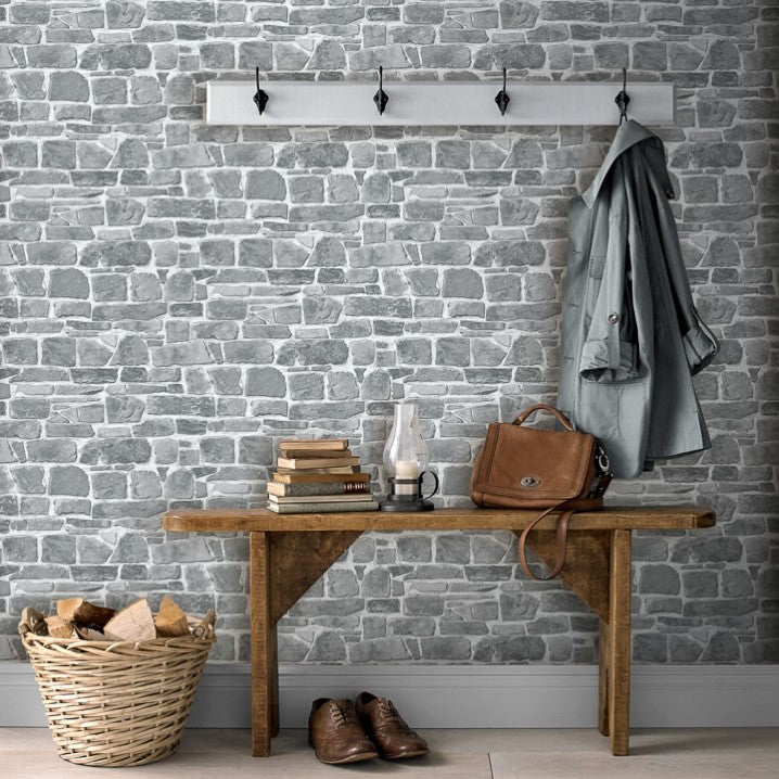 w26500620r Natural brick effect wallpaper in grey with a stylish matt finish
