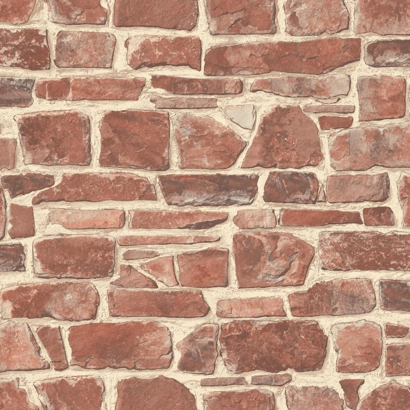 w26533613r Warm terra and cream realistic brick effect wallpaper