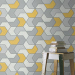 w27044341r Modern funky geometric design in grey and yellow
