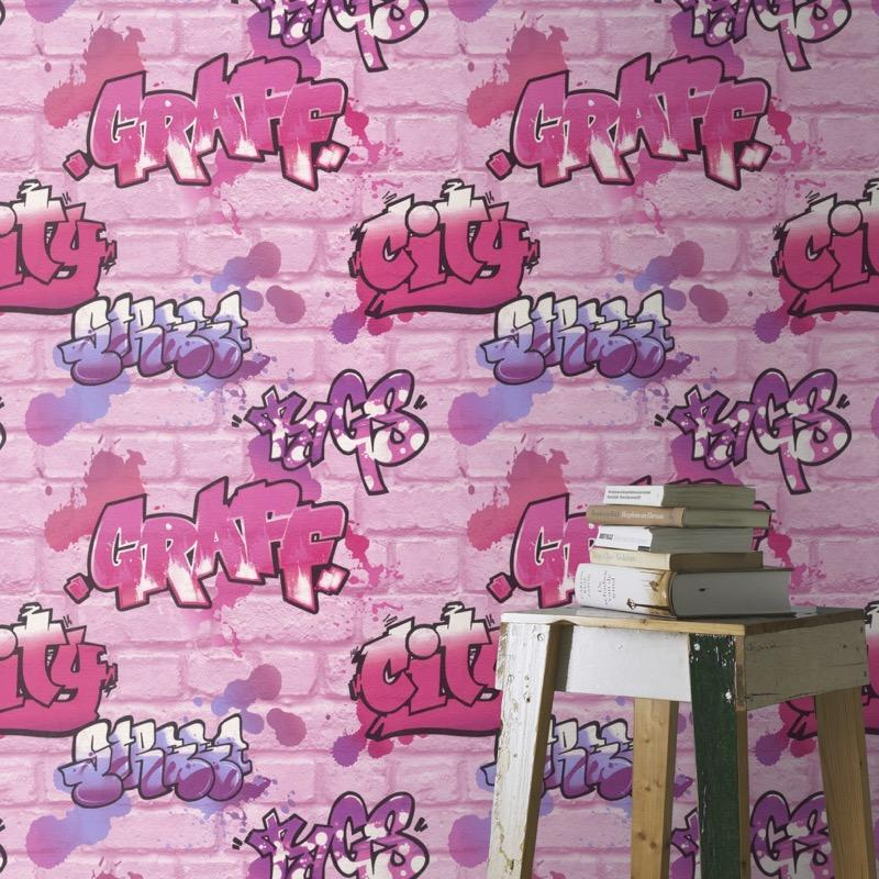 w27211918r Trendy graffiti wallpaper on a brick background in pink