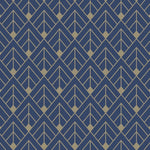 w30577517r Funky geometric design in navy blue with gold detail