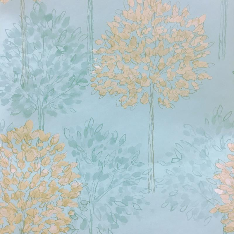 w41777906a Cream trees on fashionable teal feature wallpaper