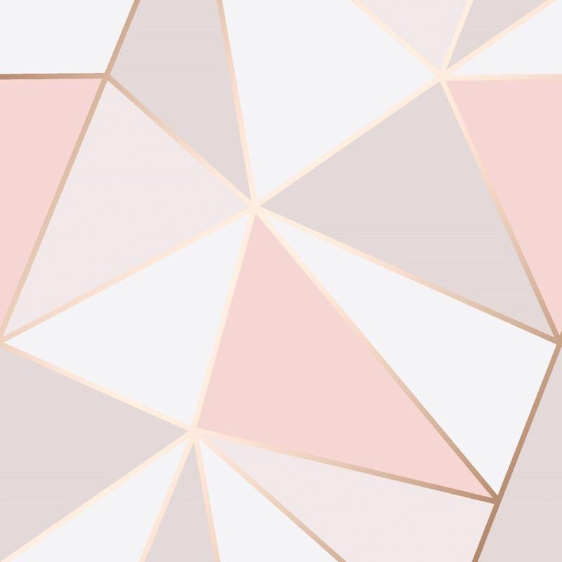 w4188993fd Abstract geometric design in stylish tones of pink, white and grey with metallic rose gold.