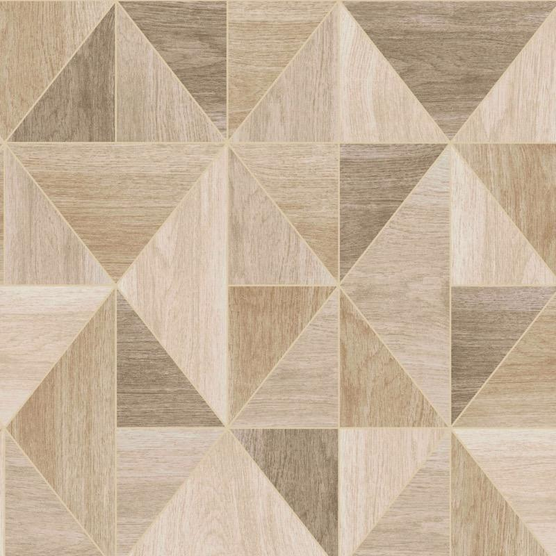 w4233222f Triangular geometric with metallic fine line highlight, created from wood block effect in soft neutrals.