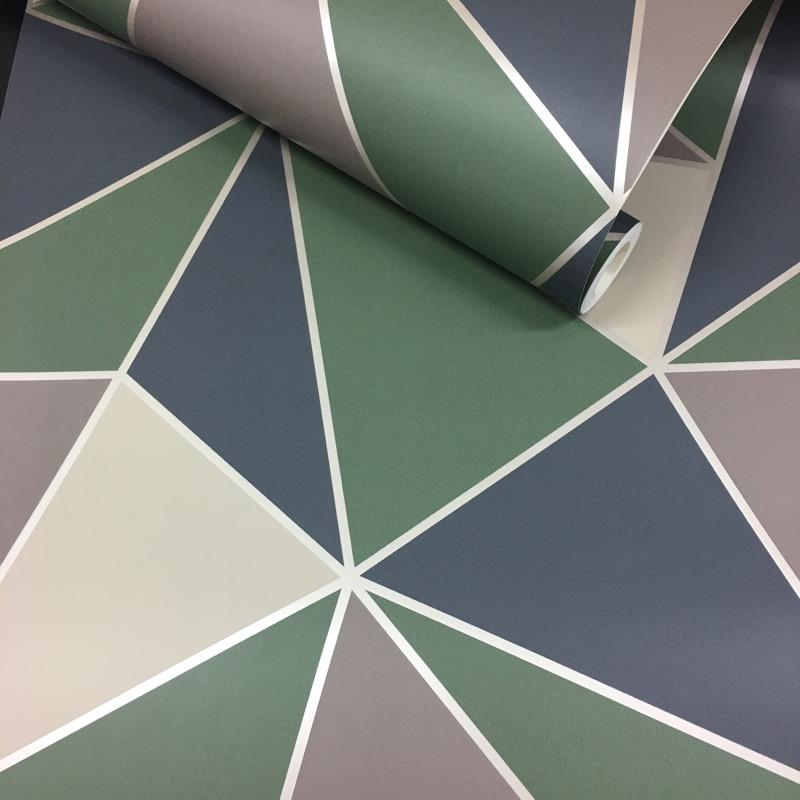 w4255000f Tria, masked and painted effect, dramatic and colourful. the bold green almost army colouring suits boys & teens rooms