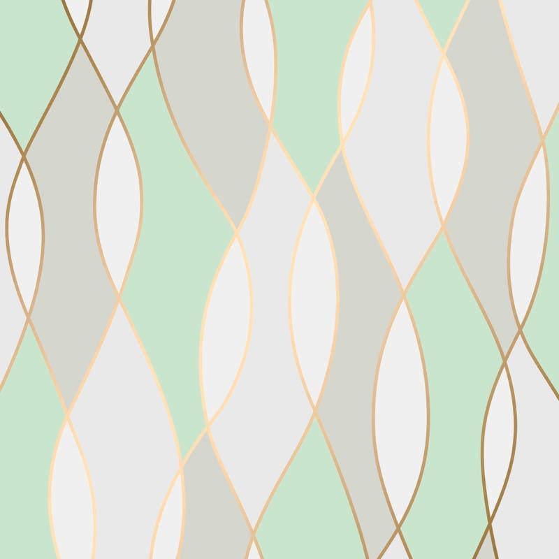 w4255173f Geometric wave with gold metallic fine line highlight in mint green, white and beige.