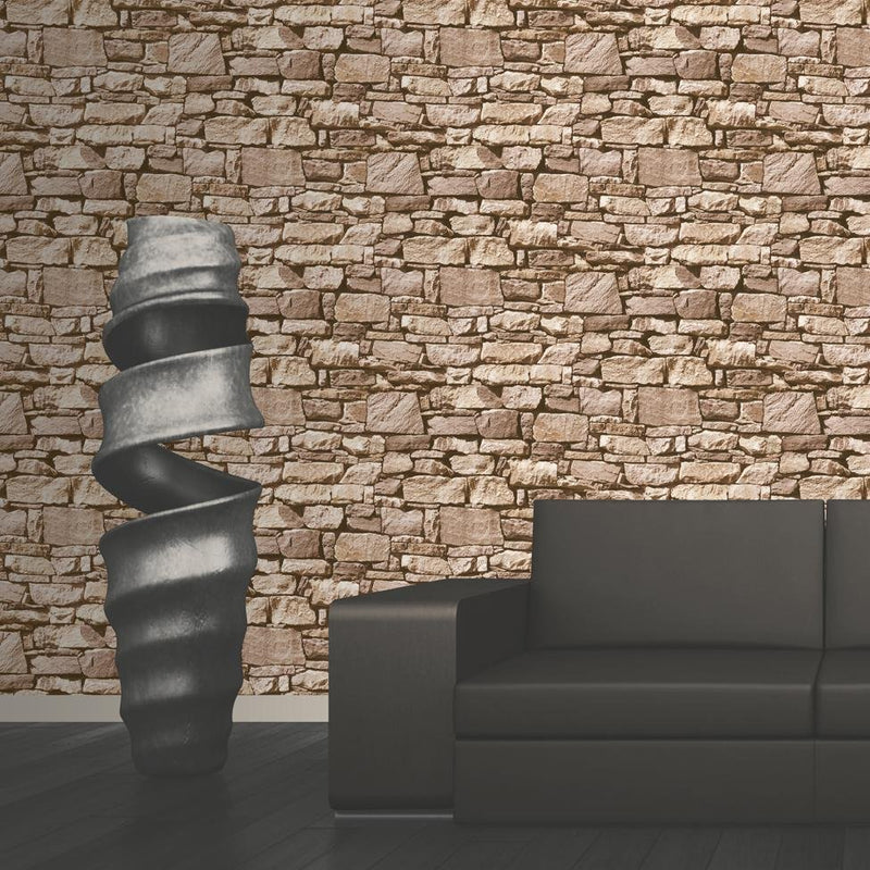 w4573318m Realistic 3D natural stone wall effect