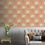 w66433500a Elegant floral bouquet on a warm terracotta ground. A vintage style feature to match warm creams.