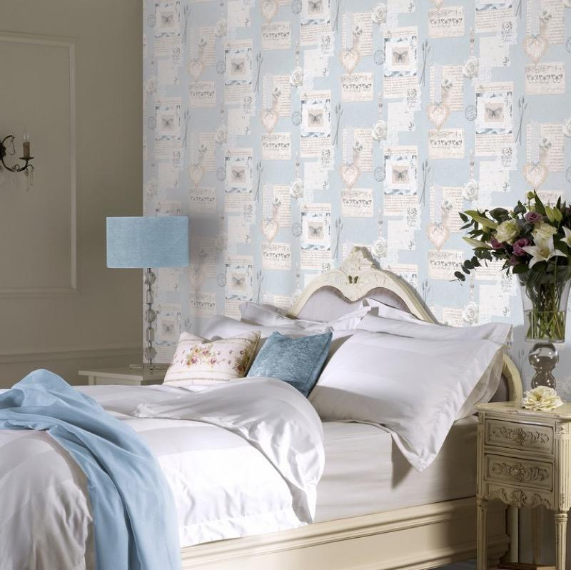 w66577902a Beautiful delicate collage style wallpaper in blue.