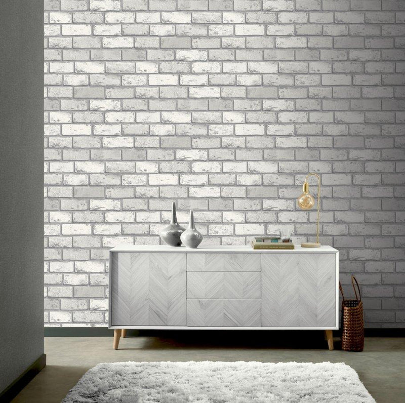 w69200201a Stylish white brick wallpaper with silver metallic highlights