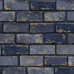w69277200a Stylish denim navy brick wallpaper with gold metallic highlights