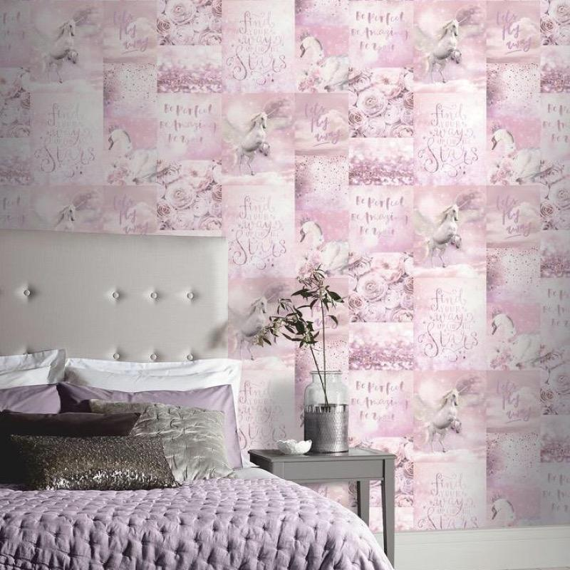 w69288700a Gorgeous pink enchanting unicorn glitter wallpaper.