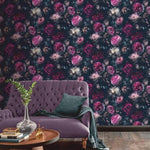 w69288801a Stunning and dramatic 3D floral wallpaper with glitter highlights.