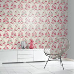w69311301a Red and cream fashion leaf design wallpaper, ideal for living / dining areas