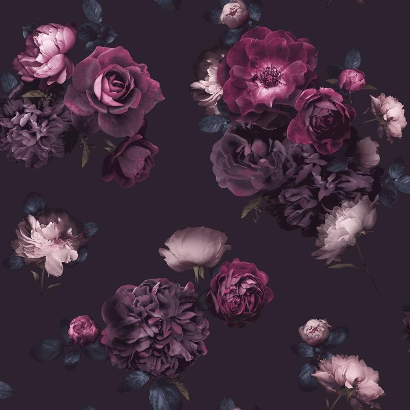 w69799500a Stunning and dramatic rose design in deep purples