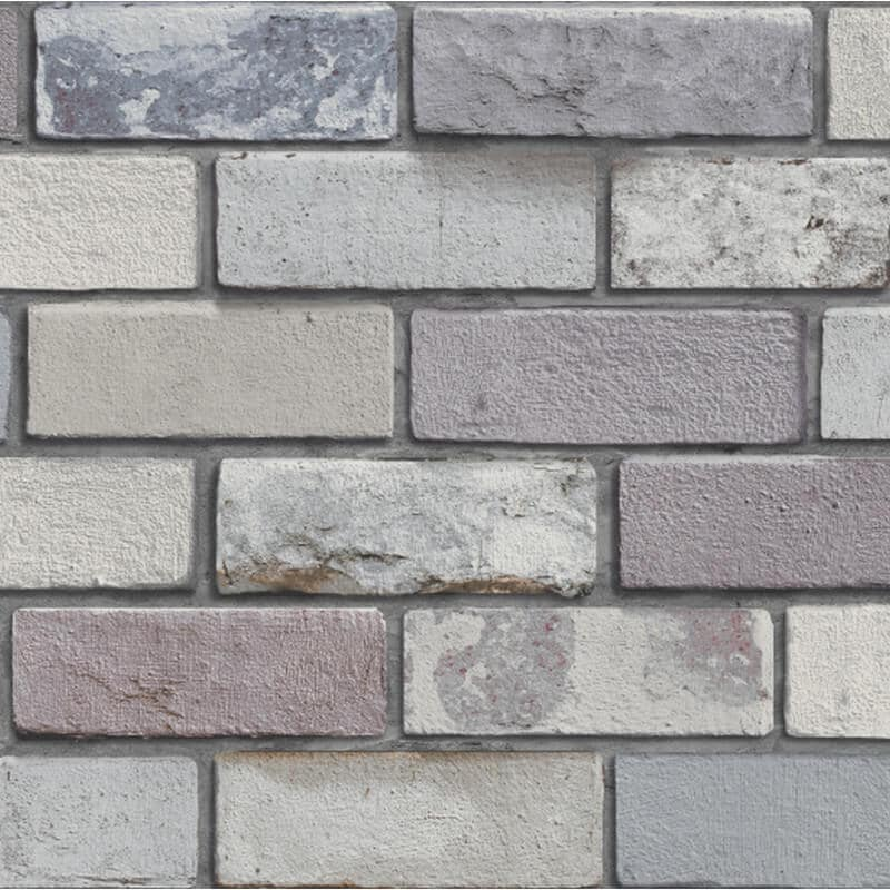 w69800800a This trendy brick wallpaper features a realistic looking 3D design in grey