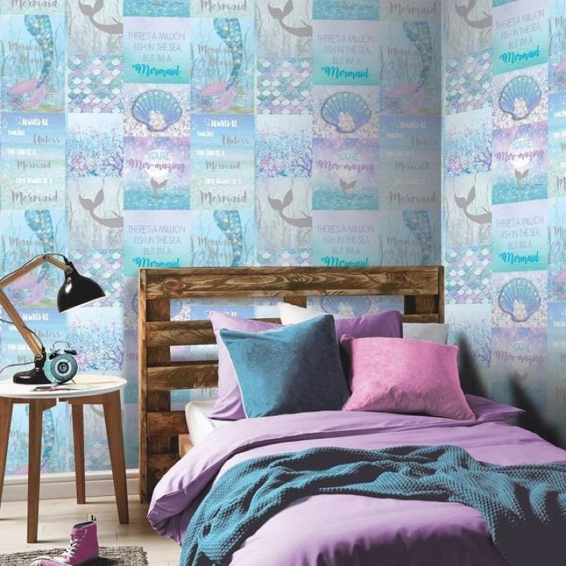 w69877304a Enchanting magical mermaid wallpaper with glitter sparkles.