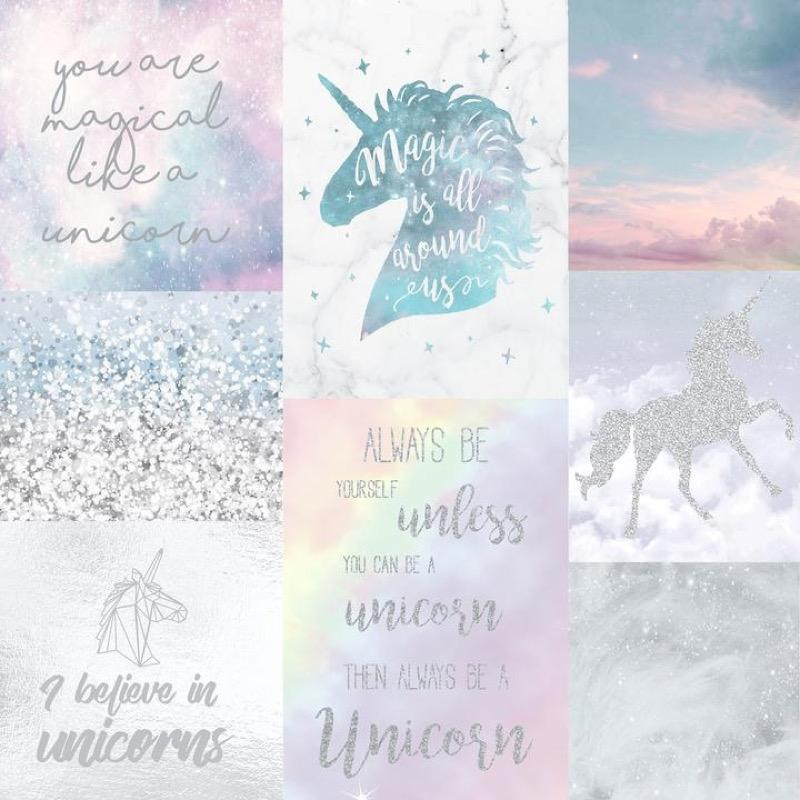 w69888300a Fun and sparkly believe in unicorns glitter wallpaper.