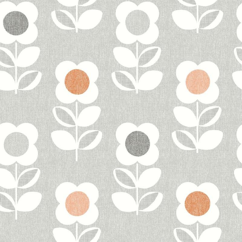 w90233304a Retro floral in grey and orange