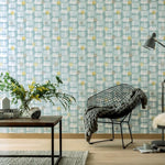 w90255308a Stylish retro design in teal with yellow and grey highlights