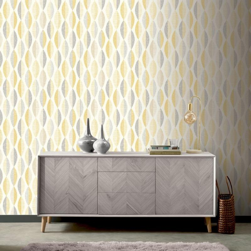 w90733508a Gorgeous modern chic geometric design in yellow.