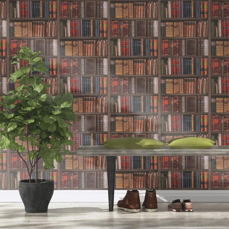 w93433809r Realistic vintage bookshelf wallpaper, full of rustic character.