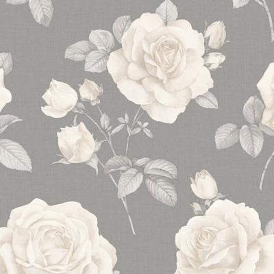 w970067b Beautiful and elegant vintage feature floral design in cream and charcoal grey
