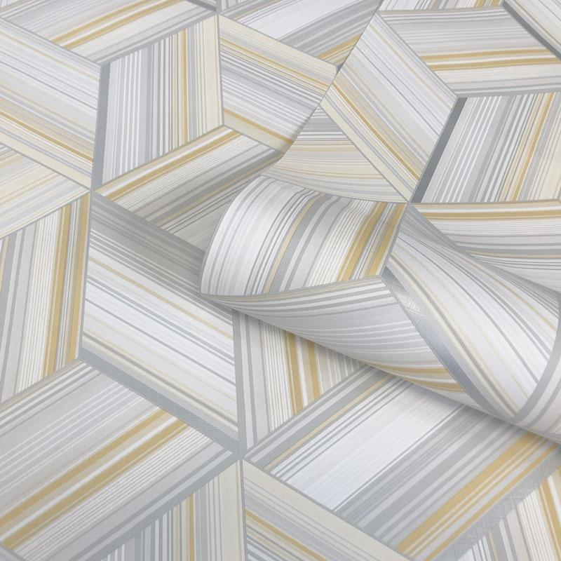 w976690b Striking 3D effect diamond wallpaper in stylish yellows, greys and whites.