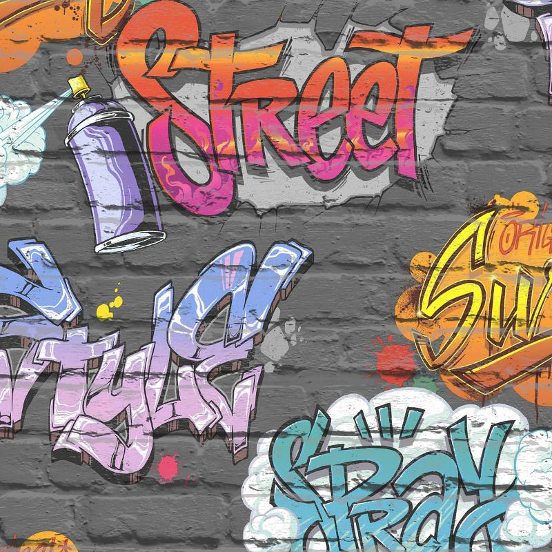 wL1799901m Fun & funky street graffiti, a vibrant colourful feature for boys or girls rooms