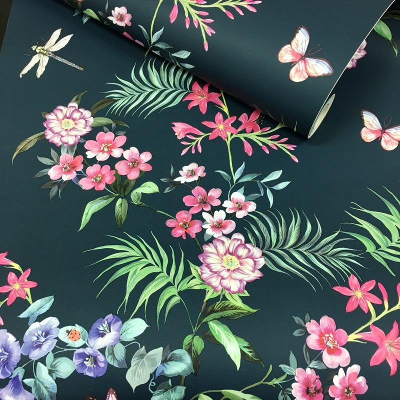 wm130045c Beautiful Japanese style feature floral in dramatic black and multi colours