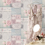 wm147725c Fashionable wallpaper with an elegant collage design with soft duck egg and pink.