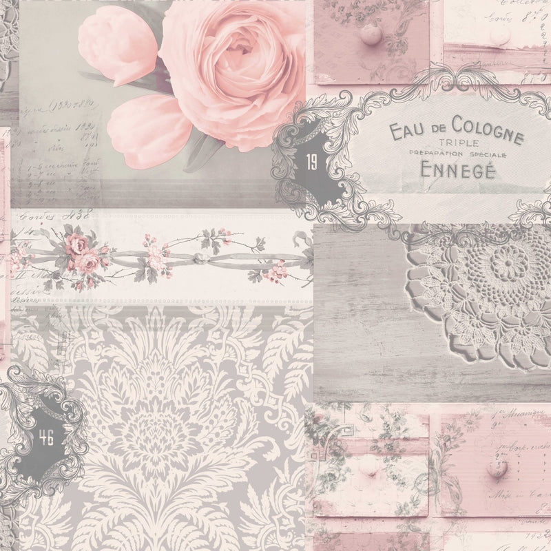 wm148826c Fashionable wallpaper with an elegant collage design in soft pinks and greys.