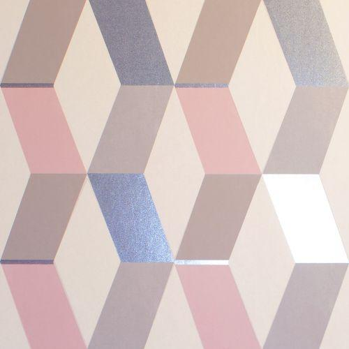 wm148869c Funky contemporary geometric design with metallic highlights. Perfect for a feature wall in a modern space.