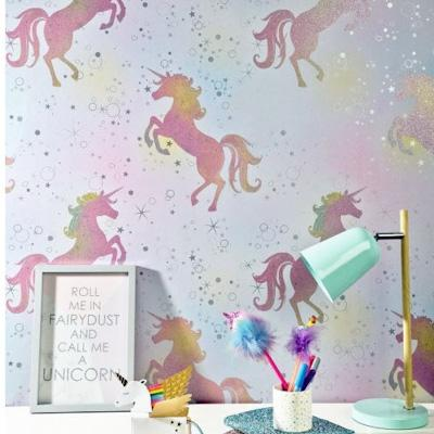 wm149923c A magical unicorn design with glitter accents. Pops of colour add a playful feel to this gorgeous paper. Perfect for a feature wall.