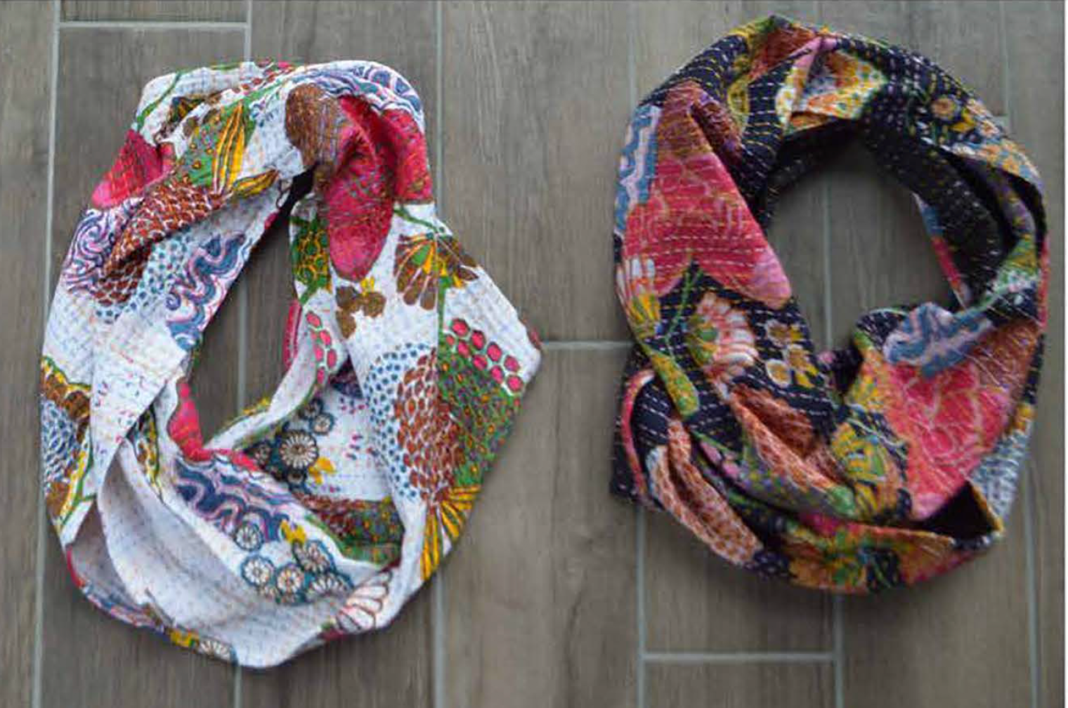 Infinity Scarf designed by LJ Simon featuring the Kantha Collection by Whistler Studios for Windham Fabrics