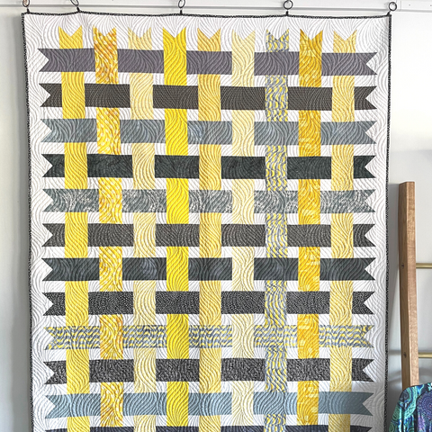 Pantone Yellow Gray Weave it to Me quilt StitchCraft