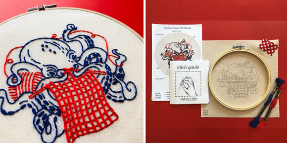 Industrious Octopus Embroidery Kit