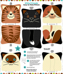 Kitty Friends Snuggle Pillows Panel
