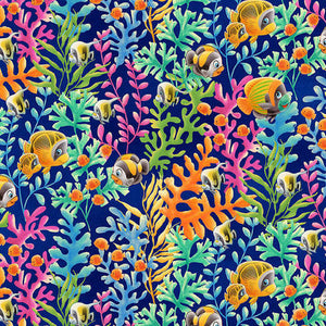 Coral and Fish - Navy