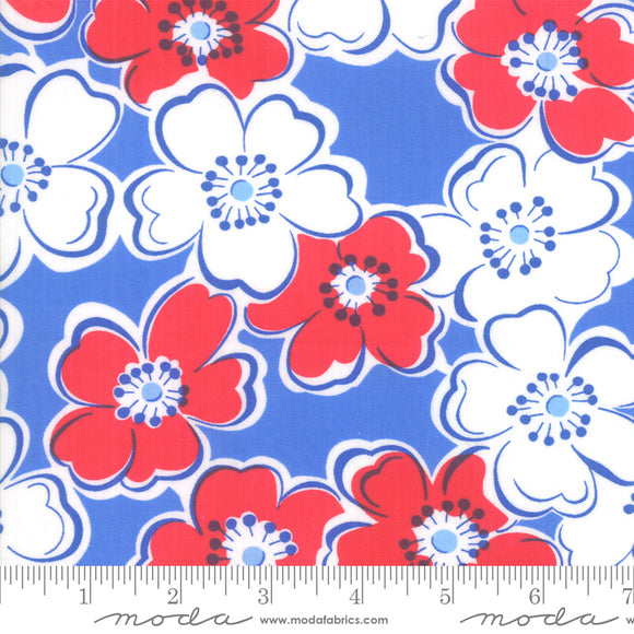 Back Porch Bountiful Blue Large Flowers Me and My Sister Designs Moda Fabrics