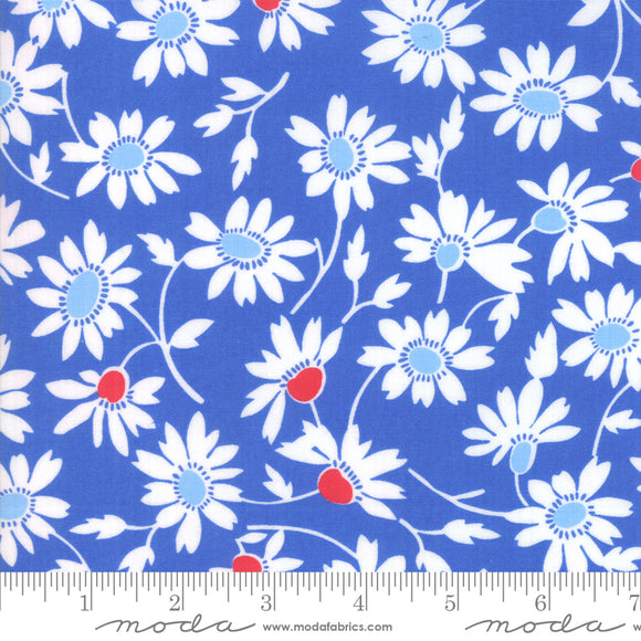Back Porch Bountiful Blue Flowers Me and My Sister Designs Moda Fabrics