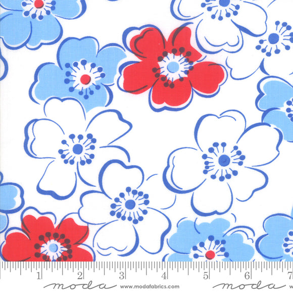 Back Porch Bright White Large Flowers Me and My Sister Designs Moda Fabrics