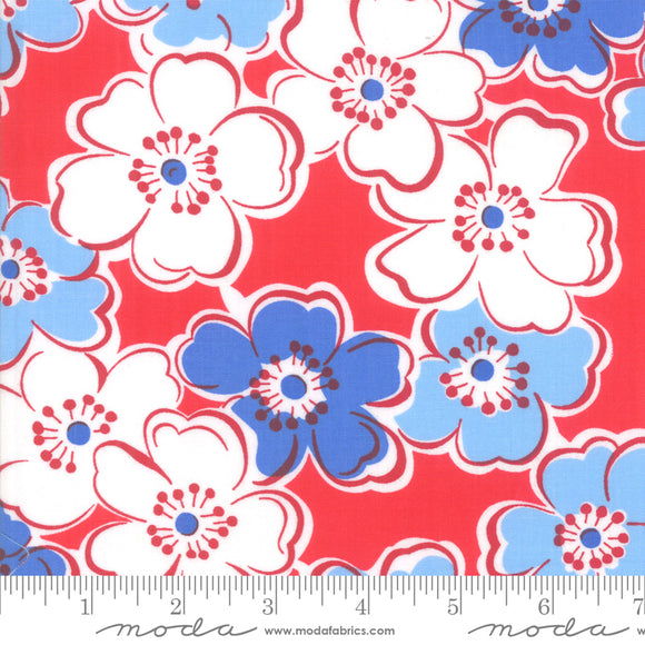 Back Porch Country Red Large Flowers Me and My Sister Designs Moda Fabrics