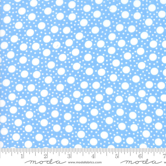 Back Porch Sky Blue Small Dots Me and My Sister Designs Moda Fabrics