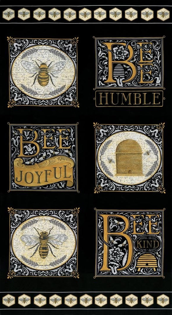 Bee Joyful Panel - Ebony